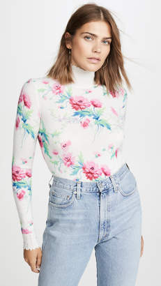 Les Rêveries Floral Print Distressed Cashmere Turtleneck