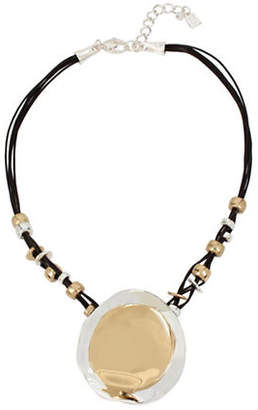 Robert Lee Morris SOHO Two-Tone Circle Leather Pendant Necklace