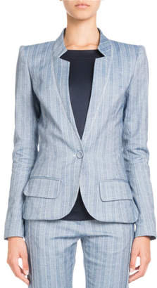 Pascal Millet Single-Breasted Striped Cotton-Linen Jacket