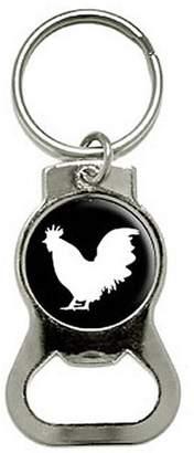 Generic Rooster Cock Bottle Cap Opener Keychain Ring
