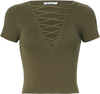 T by Alexander Wang Olive Lace-Up Short Sleeve Sweater