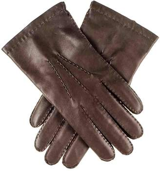 Black Men's Dark Brown Cashmere Lined Leather Gloves