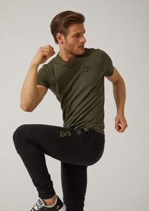 Emporio Armani V-Neck T-Shirt With Ea7 Maxi Logo On The Back