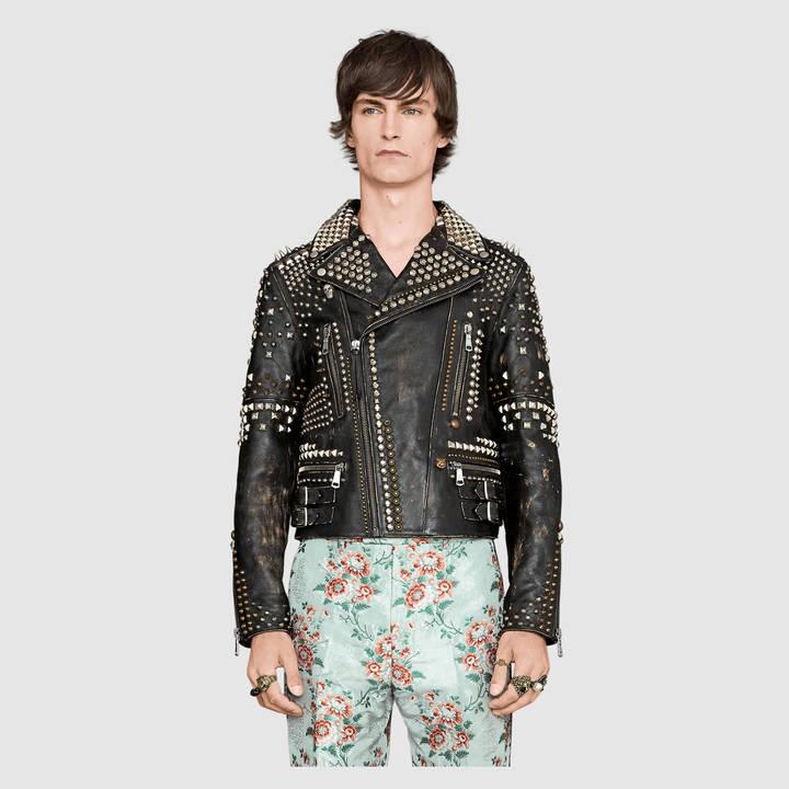 Studded leather biker jacket 2