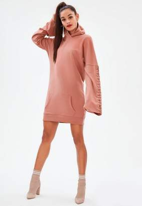 Missguided Pink Eyelet Long Sleeve Hooded Sweat Dress