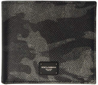 Dolce & Gabbana Black and Grey Camo Bifold Wallet