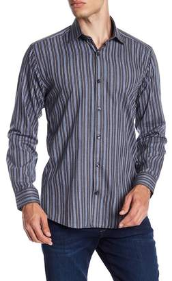 Jared Lang Patterned Woven Trim Fit Shirt