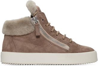 Giuseppe Zanotti Beige Suede London High-Top Sneakers $765 thestylecure.com