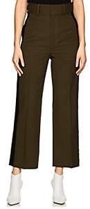 Helmut Lang Women's Piqué-Weave Flat-Front Trousers - Green