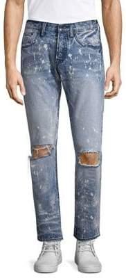 PRPS Splatter Distressed Slim Straight Jeans