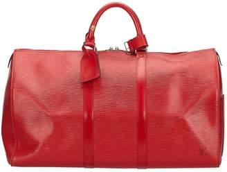 Louis Vuitton Vintage Keepall Burgundy Leather Travel Bag