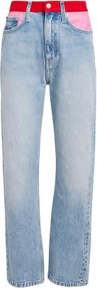 Calvin Klein Jeans High-Rise Straight Leg Colorblocked Jeans