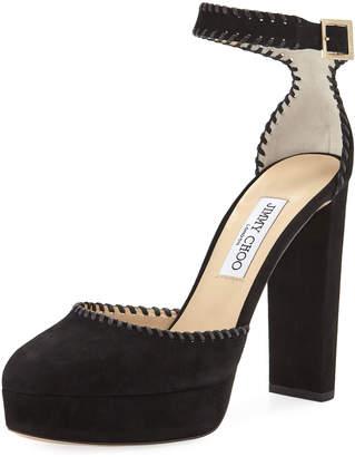 Jimmy Choo Daphne Suede Platform Ankle-Wrap Sandals