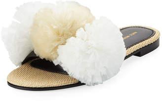 Avec Moderation Bora Bora Raffia Pompom Slide Sandals, White