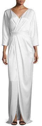 Black Halo 3/4-Sleeve Faux-Wrap Gown $690 thestylecure.com