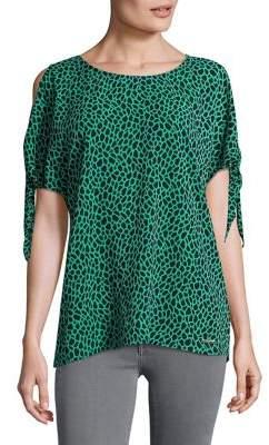 MICHAEL Michael Kors Leopard-Print Cold-Shoulder Top