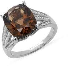 Lord & Taylor Sterling Silver, Smoky Quartz & Diamond Ring