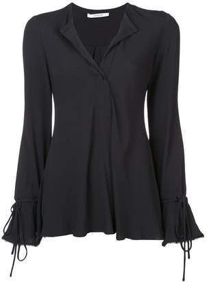 Derek Lam 10 Crosby Long Sleeve Button-Down Blouse with Bell Sleeves