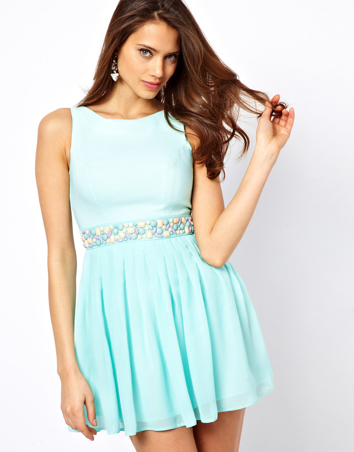 Elise Ryan Skater Dress with Jewelled Waist