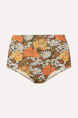 Solid & Striped Re/done Floral-print Bikini Briefs - Orange