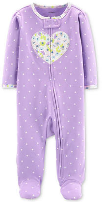 Carter's Carter Baby Girls 1-Pc. Footed Heart Zip-Up Cotton Pajamas