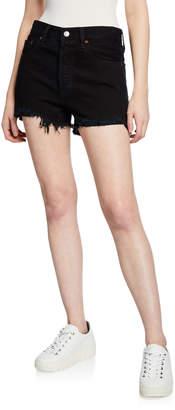 Levi's Premium 501 High-Rise Frayed Denim Shorts