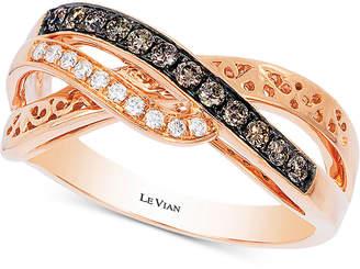 LeVian Le Vian Chocolatier Diamond Accent Filigree Ring (1/4 ct. t.w.) in 14k Rose Gold