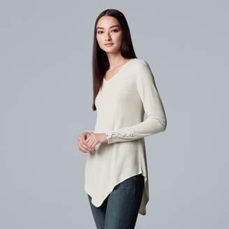 Vera Wang Women's Simply Vera Lace-Up Asymmetrical V-Neck Sweater