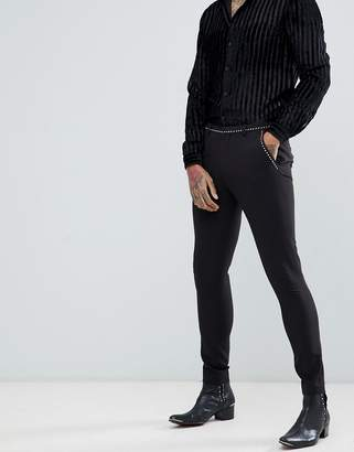 Asos DESIGN super skinny suit pants in black with stud detail
