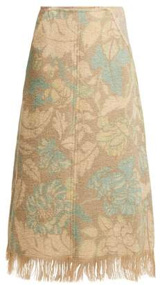 Acne Studios Fringed Floral Print A Line Skirt - Womens - Beige
