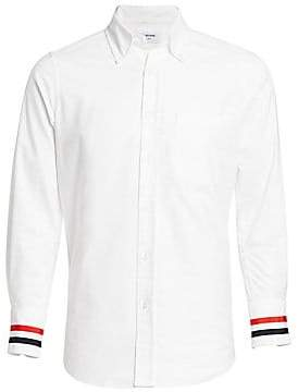 Thom Browne Men's Striped Grosgrain Cuff Point Collar Shirt