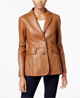 Jones New York Leather Blazer Jacket $450 thestylecure.com