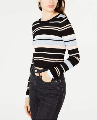Material Girl Juniors' Striped Rib-Knit Cropped Sweater