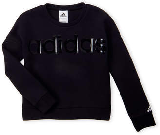 adidas Girls 7-16) Glossy Logo Cropped Pullover