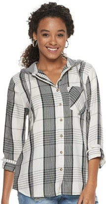 Mudd Juniors' Button Down Hoodie Shirt