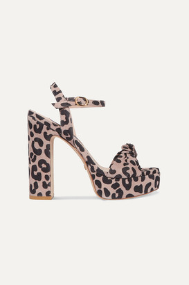 Stuart Weitzman Mirri Knotted Leopard-print Suede Platform Sandals - Leopard print