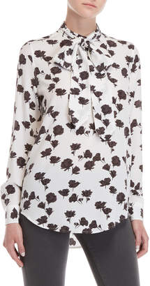 Equipment Silk Carleen Floral Tie Neck Blouse