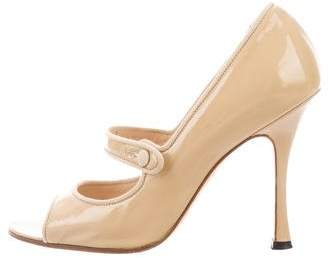 Manolo Blahnik Peep-Toe Mary Jane Pumps