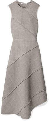 Elizabeth and James Sarah Asymmetric Paneled Stretch Cotton-blend Midi Dress - Army green
