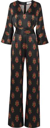 Seren - Kimi Floral-print Silk-satin Jumpsuit - Black