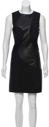Raoul Leather-Accented Mini Dress w/ Tags
