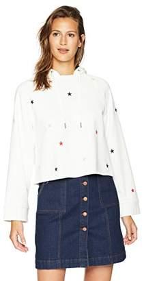 Pam & Gela Women's Crop Hoodie Sweatshirt W/Embroidered Stars