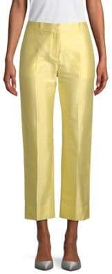 Valentino Cotton & Silk Straight-Leg Crop Trousers