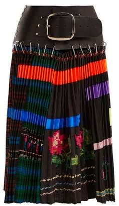Chopova lowena Chopova Lowena - Hand Embroidered Panelled Pleated Wool Skirt - Womens - Black Multi