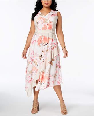 Calvin Klein Plus Size Printed Asymmetrical-Hem Midi Dress