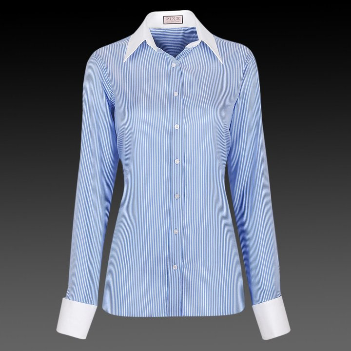 Blue and White Revolution Stripe Woman's Shirt – Cocktail Cuff