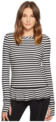 Kate Spade Athleisure Stripe Ruffle Pullover Women's Clothing