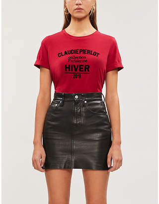 Claudie Pierlot Tristan text-print cotton-jersey T-shirt