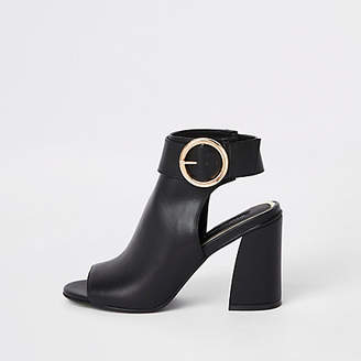 f0729ab4a4745 River Island Womens Black buckle strap ankle shoe boots