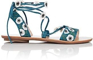 Loeffler Randall WOMEN'S FLEURA ANKLE-WRAP SANDALS - BLUE SIZE 5